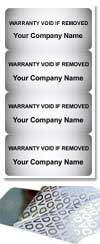 Silver VOID Tamper evident labels 40x20mm